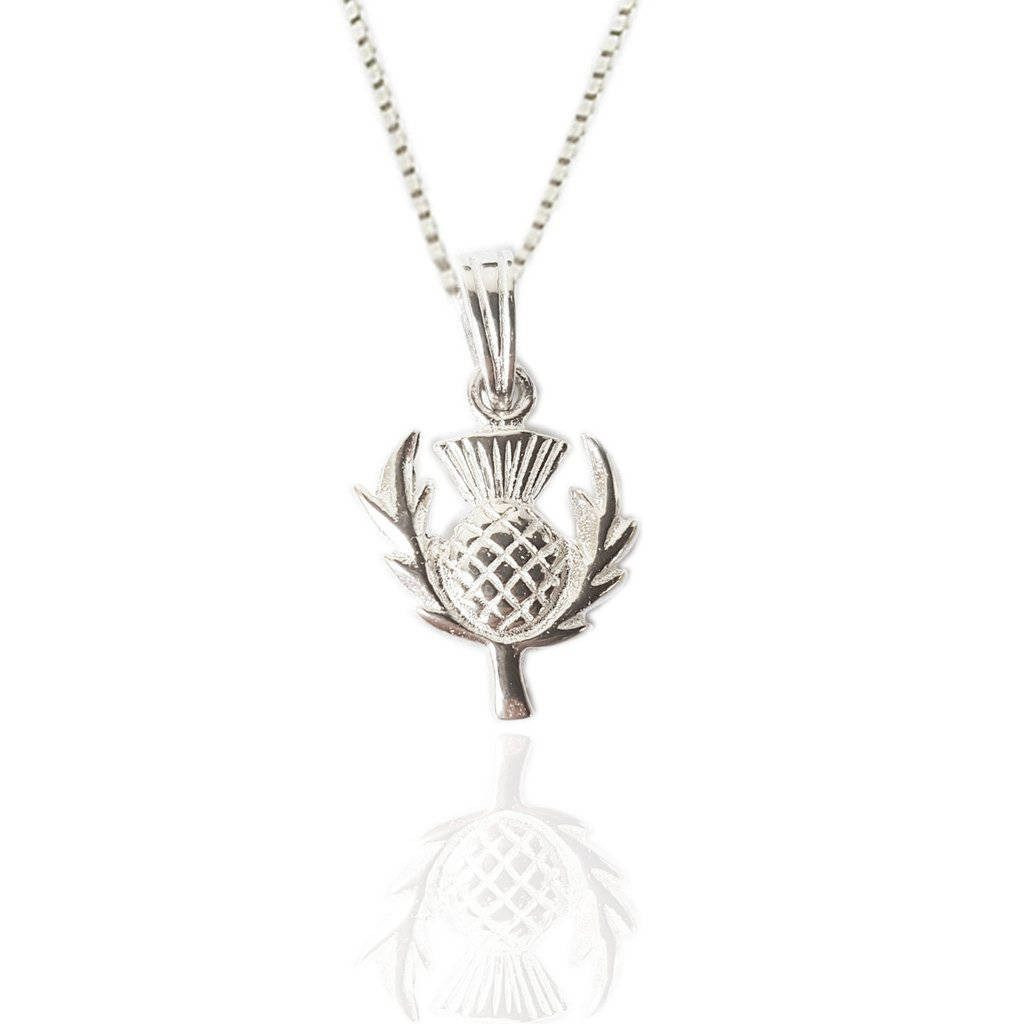 Thistle Charm Pendant in Silver
