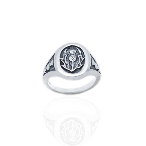 Thistle Signet Ring in Silver