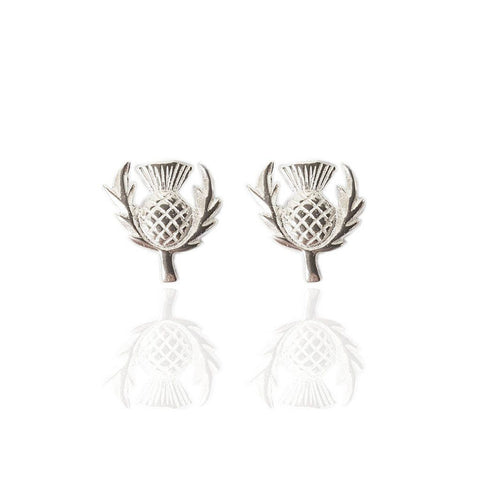 Wee Thistle Studs in Silver