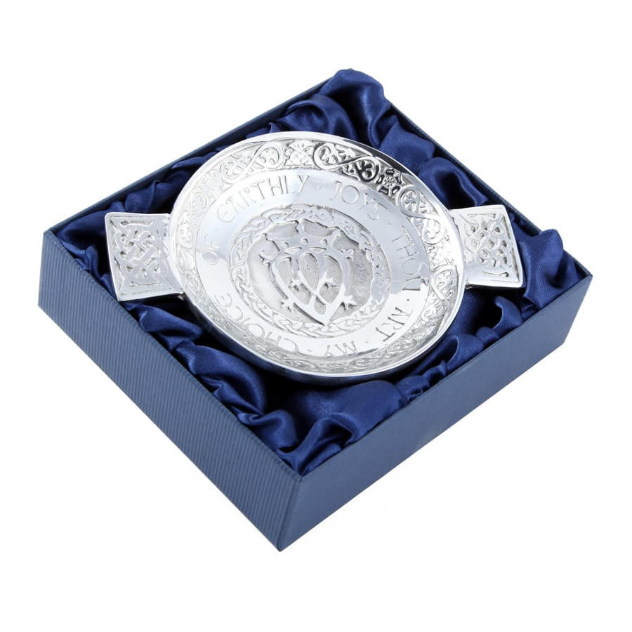 Thou Art My Choice Luckenbooth Wedding Quaich In Pewter