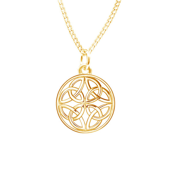 Four Trinity Celtic Knot Eternal Round Pendant in 9 ct Yellow Gold-jn75-g