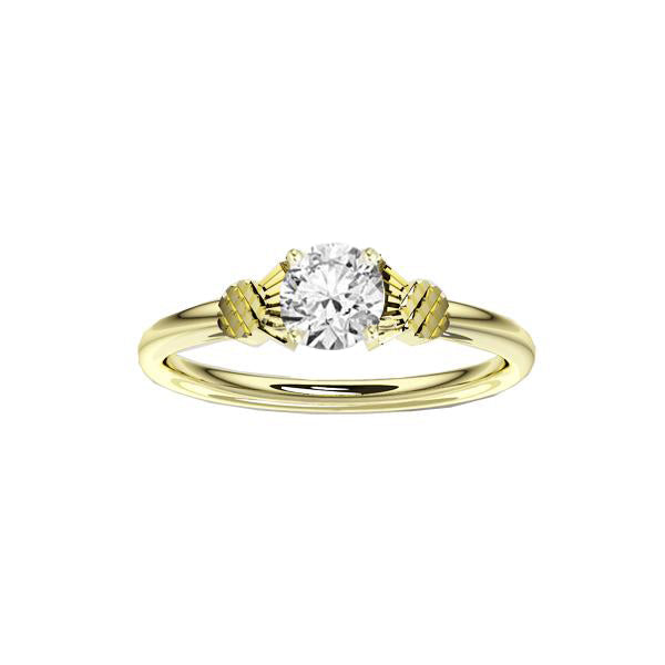 Scottish Thistle Engagement Ring in Yellow Gold