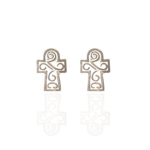 Sterling Silver Tiny Scroll Cross Studs
