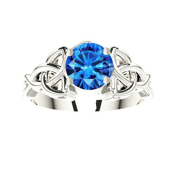 Edinburgh Rope Trinity Knot Gold Sapphire Engagement Ring in white gold