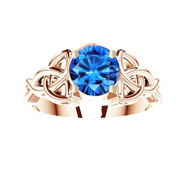 Edinburgh Rope Trinity Knot Gold Sapphire Engagement Ring in yellow gold