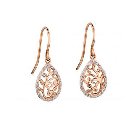 Tree Of Life Diamond Earrings in 9 ct Rose