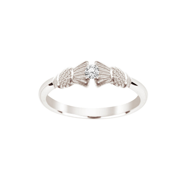 Traditional Edinburgh Scottish Thistle Torque Ring with Diamond in silver