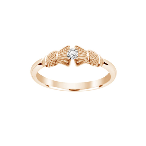 Traditional Edinburgh Scottish Thistle Torque Ring with Diamond in yellow gold