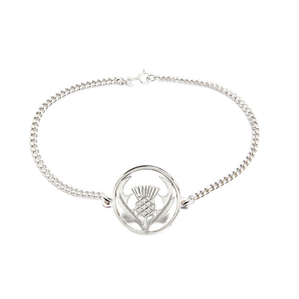 Round Scottish Thistle Bracelet in Silver