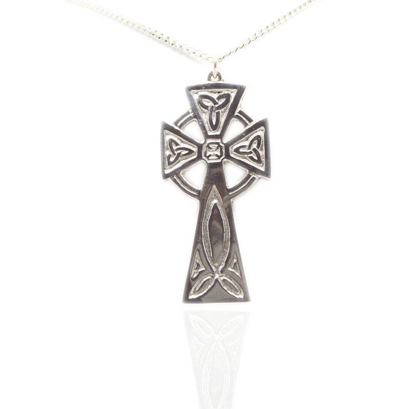 Trinity Celtic Cross Pendant In Pewter
