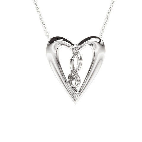 Edinburgh Celtic Thistle Heart Necklace in White Gold