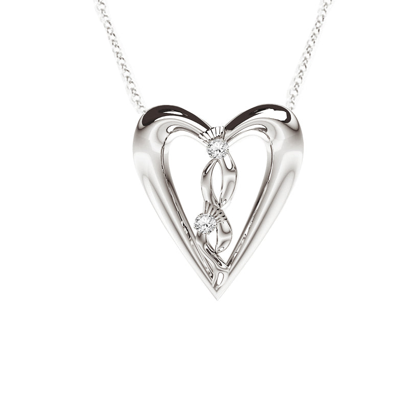Edinburgh Celtic Diamond Thistle Heart Necklace in White Gold