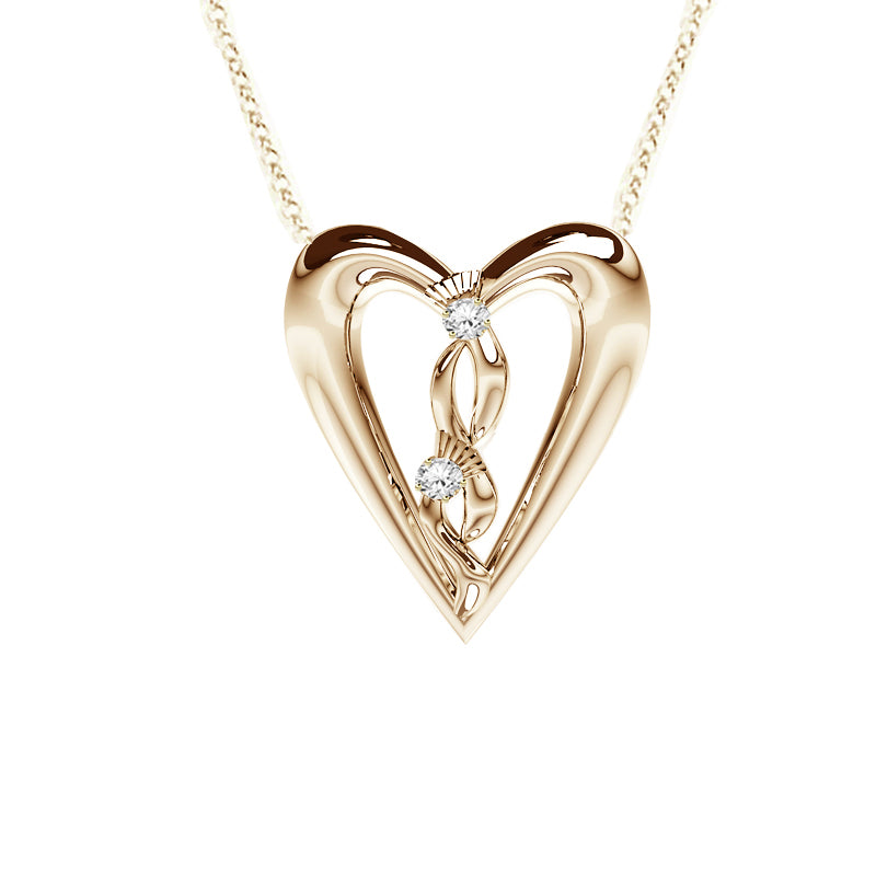 Edinburgh Celtic Diamond Thistle Heart Necklace in Yellow Gold
