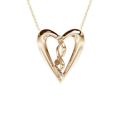 Edinburgh Celtic Thistle Heart Necklace in Yellow Gold