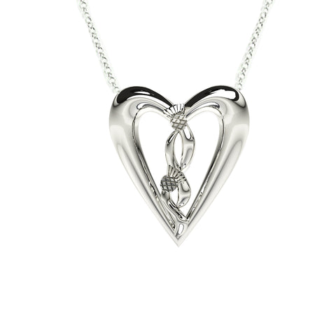 Edinburgh Celtic Thistle Heart Necklace in Silver