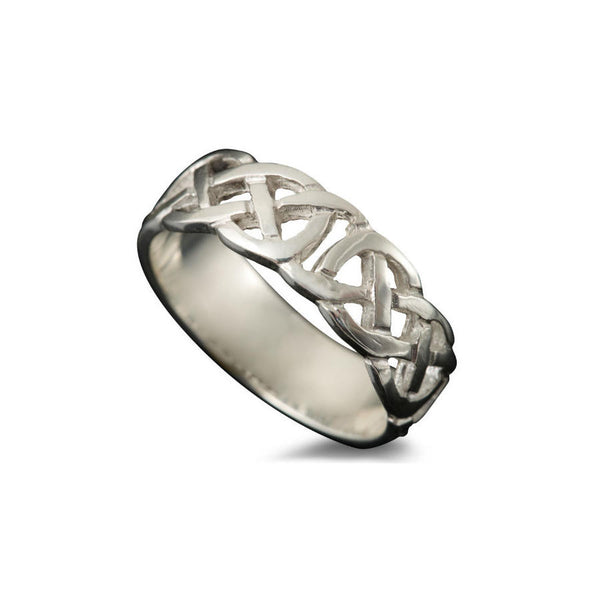Vaila Celtic Knotwork Ring in White Gold