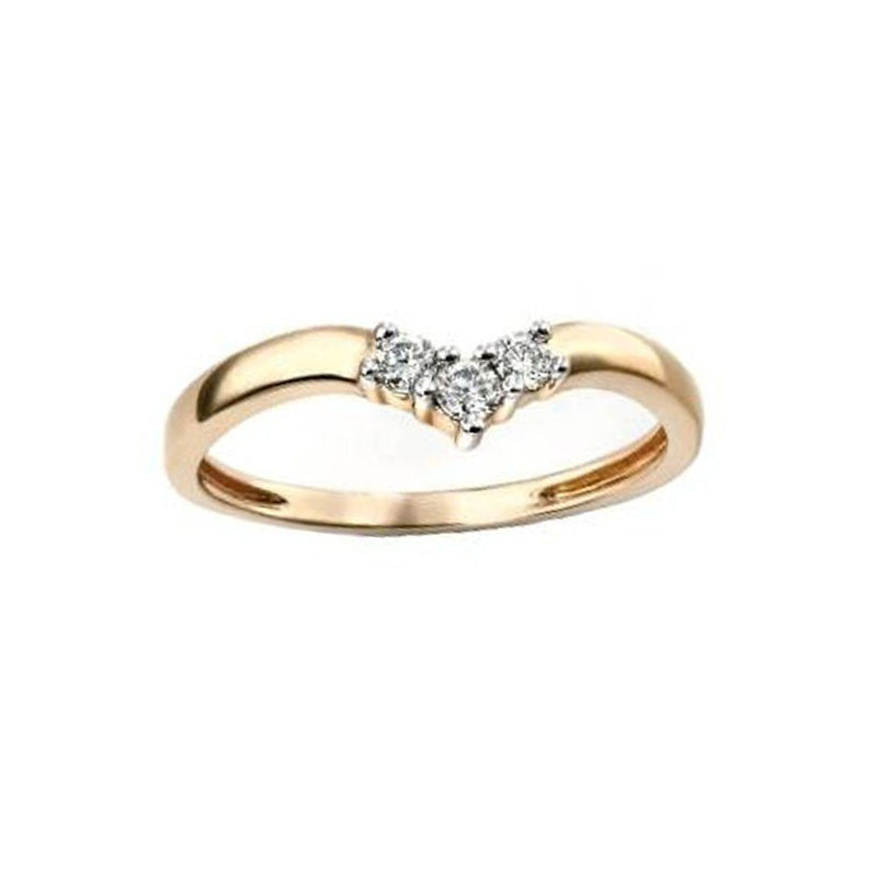 Three Stone Diamond Wishbone Ring in Yellow Gold