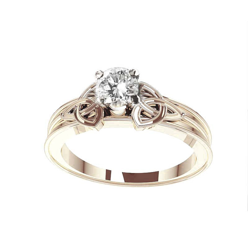 Trinity Knot Gold Diamond Engagement Ring
