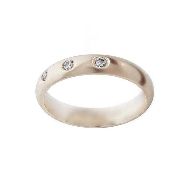 3 Diamond 4 mm Gold Wedding Band- Tappit Hen gallery