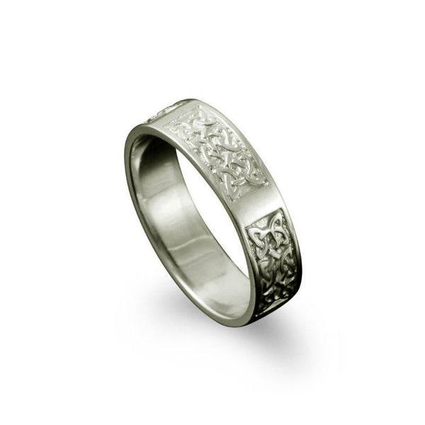 Whalsay Celtic Knotwork Panel Ring Platinum
