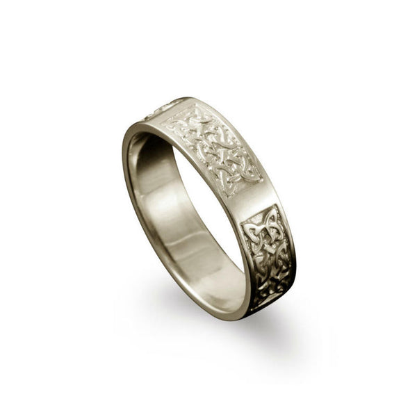 Whalsay Celtic Knotwork Panel Ring White Gold