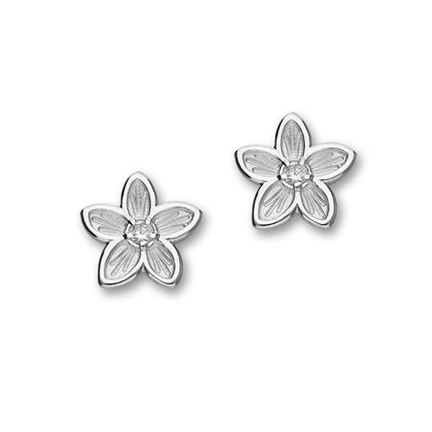 White Cubic Zirconia Flower Stud Earrings In Silver