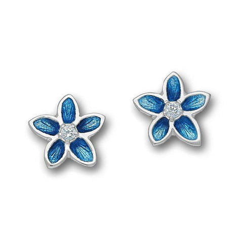 White Cubic Zirconia Marine Blue Flower Stud Earrings In Silver