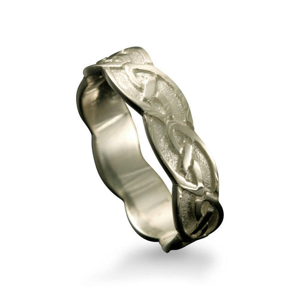 Fetlar Celtic Knotwork Ring in White Gold