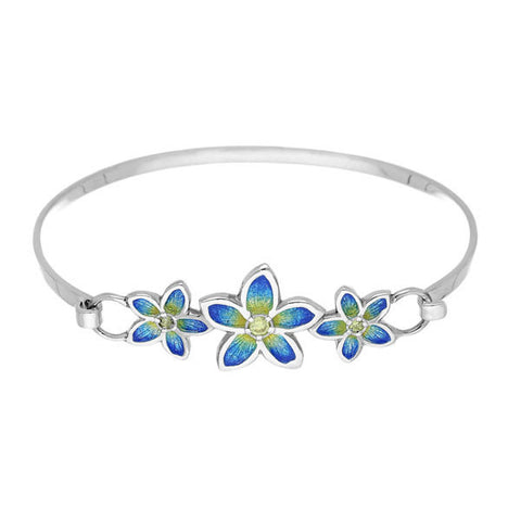 Yellow Cubic Zirconia Flower Bangle In Silver