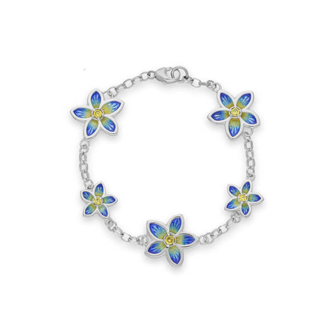 Yellow Cubic Zirconia Flower Bracelet In Silver