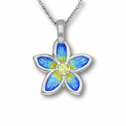 Yellow Cubic Zirconia Flower Pendant In Silver