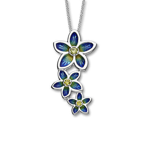Yellow Cubic Zirconia Triple Flower Blue Pendant In Silver
