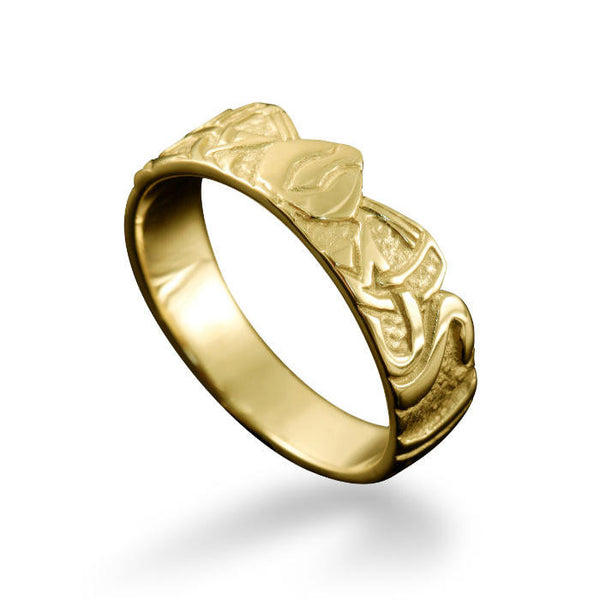 Norse Three Norns Ring Yellow Gold
