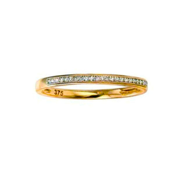 Yellow Gold Simple Pave Set Diamond Band