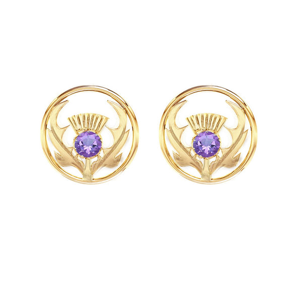 Round Gold Scottish Thistle Stud Earring in Silver with Amethyst