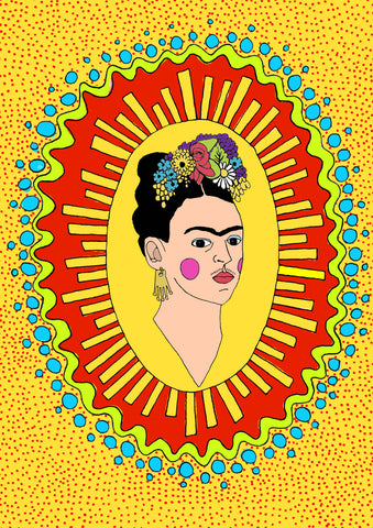 frida kahlo louisa foley illustration blue rinse vintage