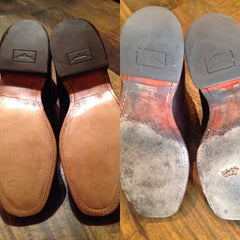 RM Williams leather resole and heel before and after