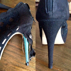 Dog chewed heels before and after photos Sole Service