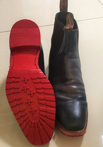 Navy RM wiliams boots with red half sole in rubber and red reheel