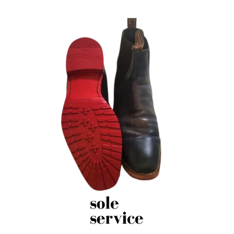 Red soles on RM Williams by Sole Service