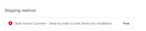 Style Service Customer - Send my order to Sole Service for installation.