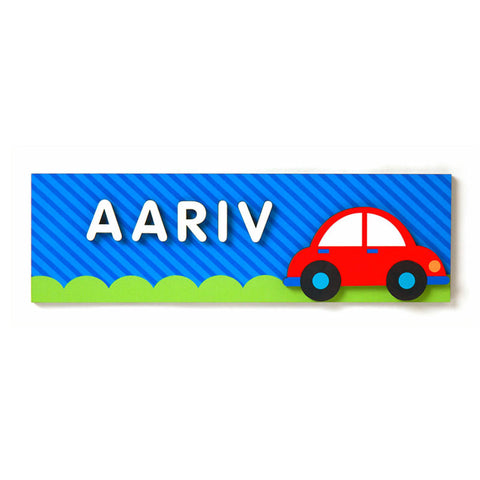 NidoKido Personalized Blue Name Plaque with Red Car