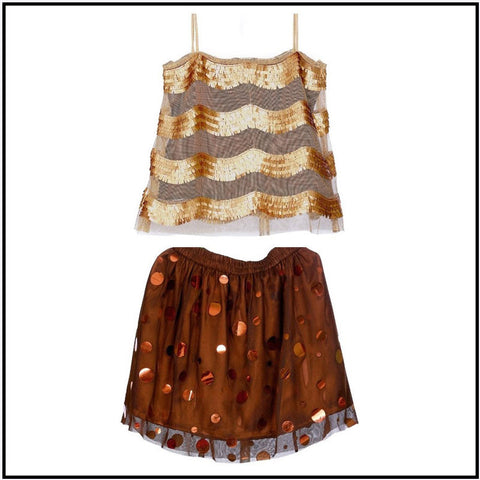 Hickory Dickory Chocolate Brown Skirt & Sequined Top