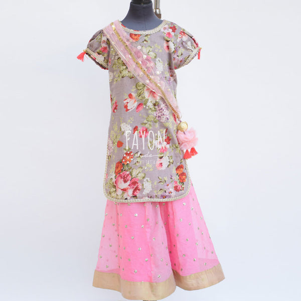 Gray Printed Kurta with Sharara