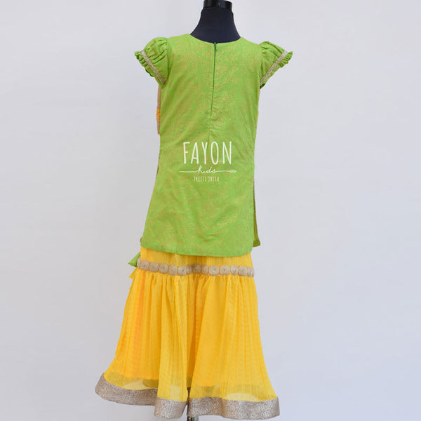 Green Kurta with attached Phulkari Jacket with Sharara