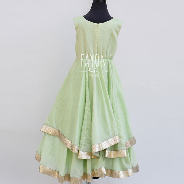 Mint Green Modal Cotton Asymetrical Anarkali Dress
