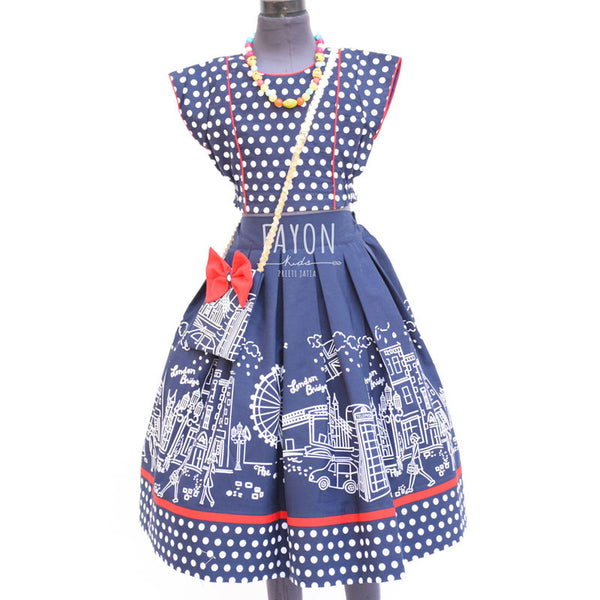 Blue London Print Crop-Top Skirt Set