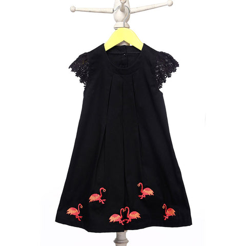 Mi Dulce An'ya Formal Dress with lace sleeves and embroidered flamingos for Girls
