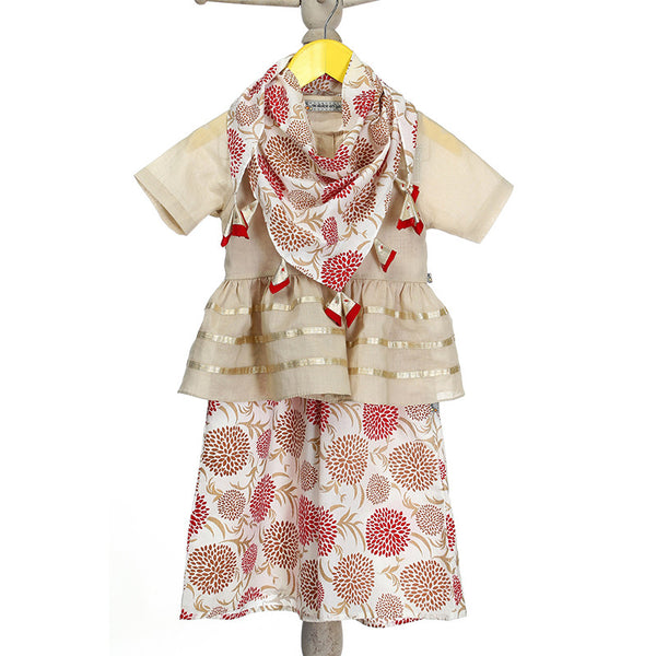 Mi Dulce An'ya Peplum Blouse with printed Palazzo and matching Scarf with Tassels for Girls