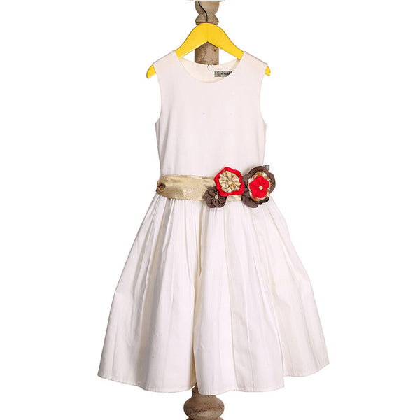 Mi Dulce An'ya Formal Sleeveless Dress with flower embellished belt for Girls
